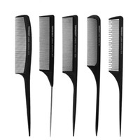 Wholesale tips for black hair - Professional Hair Hard Carbon Tip Tail Comb Flat Head Antistatic Combs for Salon Haircut Plastic Comb Hair Comb