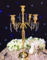 Wholesale Table Flower Vases - 63cm(H) Gold Wedding flower vase metal candelabra candle holder table centerpiece flower stand Wedding Decoration
