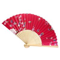 ingrosso vendita di tifosi a mano-Vendita calda Vintage Bamboo Pieghevole tenuto in mano Flower Fan Danza cinese Party Pocket Regali Dance Performance Abito da sposa decorato