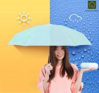 doppelte stoffschirme großhandel-Regen und Sonne Double Folding Black Umbrella Uv Travel Regenschirm Regenschirm Regenschirm WKW053