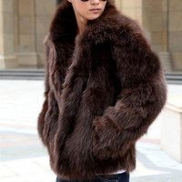 Wholesale Thick Mink Faux Fur Jackets - Winter Men's Faux Fur Jacket Fashion Fox Fur Warm Mink Coat Solid Color Outerwear mens thick coats Brown White cardigan
