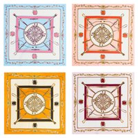 Wholesale jacquard silk scarves wholesale - Imitated Silk Fabric Scarf Practical Twill Classy Chains Scarves Jacquard Weave Soft Square Handkerchief For Women 7 52mt B