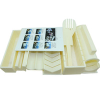 plastiksushi schimmel großhandel-10 teile / satz DIY kunststoff küchenutensilien kochen cutter sushi maker roll roller sandwich seetang nori reis einfache form werkzeug