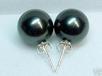 Wholesale white pearl earrings silver hook - 12mm white pink gray black brown yellow sea shell pearl stud earring round very strong Silver Hook Vintage Earrings Lady's