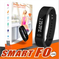 Wholesale fitness black - ID115 F0 Smart Bracelets Fitness Tracker Step Counter Activity Monitor Band Alarm Clock Vibration Wristband for iphone Android phone