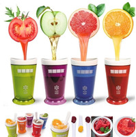 Wholesale wholesale smoothie cups - New Creative Ice cream cup New Fruits Juice Cup Fruits Sand Ice Cream Slush Shake Maker Slushy Milkshake Smoothie Cup 50pcs Drinkware I160
