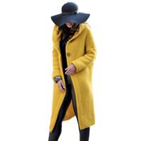 ingrosso donne gialle maglione cardigan-Harajuku Long Cardigan Ladies 2018 Primavera moda lunga maglia maglione donne cappotto casual giallo con cappuccio abbigliamento invernale maglione