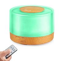 nebulizador umidificador venda por atacado-500 ml de Controle Remoto Ultrasonic Umidificador de Ar Fogger Aromaterapia Difusor de Óleos Essenciais Nebulizador Temporizador Configurações LED Lâmpada Aroma para Casa
