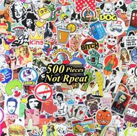 Wholesale vinyl guitar decals - Hot Selling 500pcs lot Cartoon Movie Stickers Multi Design Random Music Film Vinyl Skateboard Guitar Travel Doodle Graffiti Decal Cute