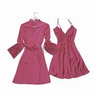 женская сексуальная пижама оптовых- women's sexy lace satin robe & gown sets female  fashion nightwear set pyjamas set hot robes gowns sets