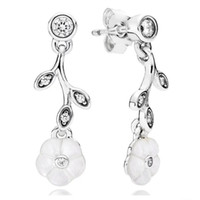 mutter perle ohrstecker blume großhandel-Hanging Flower Ohrringe Perlmutt authentische S925 Silber passt für Pandora Style Armband 290699MOP H8ale