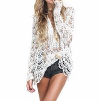 d5e72260ea1 2019 Summer Lace Shirts Women Tops Long Sleeve Vintage White Blouse Sexy  Hollow Crochet Blouses One Size