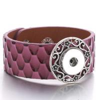 bouton pression violet achat en gros de-Nouveau Rétro Glamour Pourpre En Cuir Snap Large Bracelet avec bouton pression 18mm Hommes et Femmes Bijoux Usine En Gros A75