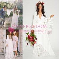 Wholesale Bell Wedding Dresses - 2017 Boho Beach Wedding Dresses Bohemian Long Bell Sleeve Lace Flower Bridal Gowns Plus Size Hippie Wedding Dress