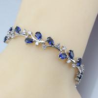 Wholesale 925 unique link chain resale online - Unique Branch Shape Link Chain Bracelet Length CM Blue Zircon Sterling Silver Color Jewelry Fashion Trinket