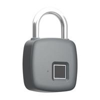 cerradura antirrobo puerta al por mayor-Inteligente Huella digital Candado Seguro Carga USB Recargable Impermeable Cerradura de la puerta Antirrobo Seguridad Candado Equipaje Maleta de bloqueo