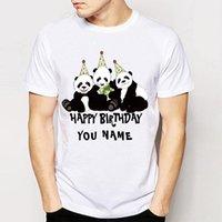 doğum günü partisi isimleri toptan satış-Adını Özelleştirin Panda Ayı Parti Doğum Günü Tasarım Tees Erkekler Tees Sevimli Harajuku T-Shirt Yenilik Ucuz Adam Gömlek Tops