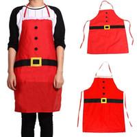 украшения для шеф-повара оптовых-Household Cleaning Accessories Christmas Decoration Santa Apron Home Kitchen Cooking Baking Chef Polyester Red Apron