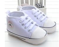 bebé suave suela de zapatos deportivos al por mayor-Nuevo Lienzo Zapatillas de deporte clásicas Recién nacido Bebé Niños Niñas Primeros Caminantes zapatos Infant Toddler Soft Sole antideslizante zapatos de bebé