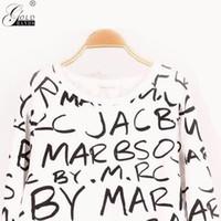 pulôveres de mão venda por atacado-Mãos de ouro Verão Outono Moda Senhora Carta Longa Mangas Sweatershirt Mulheres O-pescoço Sólida Pulôver Sweatershirt Frete Grátis