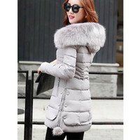 Wholesale long padded hooded coats women - Women are thickening in winter Hooded long Down jacket women Slim fit Heavy hair collar Cotton-padded clothes coat XXXL