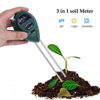 ingrosso tipi di test idrici-3 in 1 Tester del suolo del pH Conveniente Tester di prova di umidità dell'acqua della testa rotonda rotonda per le forniture del fiore della pianta da giardino Durevole 15kt B