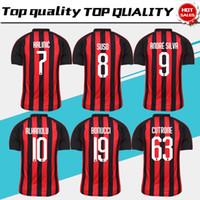 Wholesale football milan ac - 2019 AC Milan home Soccer Jersey 18 19 AC Milan Soccer Shirt Customized#19 BONUCCI #10 CALHANOGLU #9 ANDRE SILVA football uniform Sales