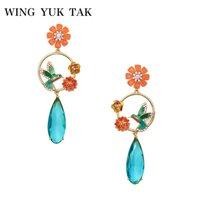 Wholesale blue enamel flower earrings - wing yuk tak 2018 New Design Bohemia Charming Bird Enamel Flower Blue Crystal Water Drop Earrings For Women Fashion Party Bijoux