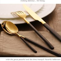 Wholesale Plated Flatware - new hot Eco-friendly Japanese dinnerware cutlery set stainless steel gold plated flatware quality tableware household wn258
