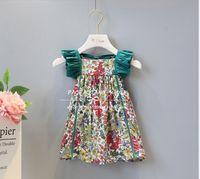 Wholesale Little Girls Elegant Dresses - dress 2018 INS hot styles New summer girl kids cute little flower printed Dress kids elegant high quality lace dress size 80-120cm