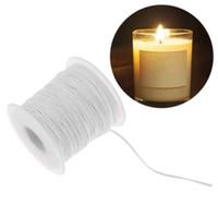 carretes de algodón al por mayor-61m bobina ambiental de algodón trenza vela mecha núcleo para lámparas de aceite de bricolaje fabricación de velas suministros
