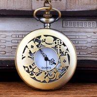 antika masa saatleri toptan satış-Toptan 50 adet / grup klasik Kız Anahtar Cep Saati vintage cebi Erkek Kadın antika modelleri Tuo masa izle PW129