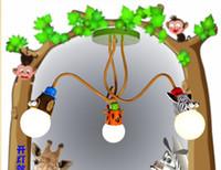 avizeler için avize aydınlatma toptan satış-3 kafa E27 karikatür çocuk odası avize yatak odası ışıkları sevimli maymun zebra yaratıcı lambalar