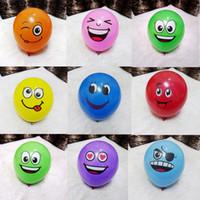 """ingrosso gli aerostati a forma di cuore trasporto libero-Azione 12 """"Emoji Face Expression Latex Balloon Multicolor Colorful Happy Face Balloons Decorazione festa di compleanno Giocattolo per bambini"""