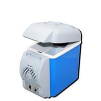 frigoríficos 12v venda por atacado-12 V 7.5L Veículo Portátil Eletrônico de Refrigeração De Aquecimento Refrigerador de Capacidade de Automóveis Em Casa Azul Mini Box Frigorífico Camping Equipamentos 58yx bb