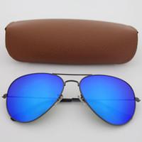 gözlük için mavi lens toptan satış-Yüksek Kalite Klasik Pilot Güneş Gözlüğü Tasarımcı Marka Mens Womens Güneş Gözlükleri gözlük Gri çerçeve Mavi Ayna 58mm 62mm G15 UV Cam Lensler