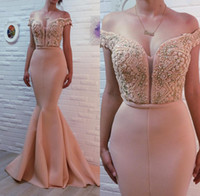 Wholesale peach mermaid dress ruffles for sale - Group buy Off the Shoulder Short Sleeves Peach Party Prom Dresses Long Mermaid Lace Sequins Country Evening Gowns Formal Bridesmaid Wear