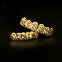 Wholesale Gold Teeth Styles - Mens hip hop jewelry Real Gold Plated Grillzs European and American style hiphop tooth Dental Grills accessorie
