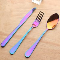 Wholesale lucky spoon resale online - Stainless Steel Knife Fork Spoon Set Colorful Dinnerware Kit For Restaurant Steak Dishware Sets Factory Direct Sale wl X