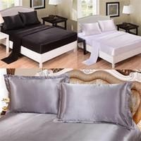 ingrosso cuscini di dimensioni queen-Copripiumino 4 pezzi Set biancheria da letto Fashion Emulation Seta Queen Size Luxury Federa Colore puro di alta qualità 85sd4 ff