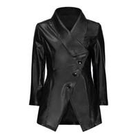 vestes pu europe achat en gros de-Gothic PU Mptorcycel Manteau Hiver Automne Mince Bouton Survêtement Criss-Cross Revers Europe Style Veste Femmes Mode Manteaux