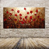 ingrosso fiori di mano immagine-100% dipinto a mano con texture spatola coltello fiore rosso pittura a olio astratta moderna su tela wall art living room decor picture Y18102209