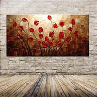 peinture murale fleur rouge achat en gros de-100% Peint À La Main Texturé Palette Couteau Fleur Rouge Peinture À L'huile Abstraite Moderne Mur De Toile Art Salon Décor Photo Y18102209