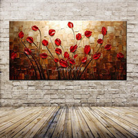 cuchillo de paleta abstracto moderno al por mayor-100% Pintado A Mano Con Textura Cuchillo de Paleta Flor Roja Pintura Al Óleo Abstracta Moderna Lienzo Arte de La Pared Sala de estar Decoración Imagen Y18102209