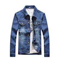 Wholesale Gray Denim Jacket Men - Solid Casual Slim Mens Denim Jacket S-5XL Bomber Jacket Men High Quality Cowboy Men's Jean Jacket Chaqueta Hombre
