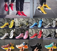 Wholesale clear plastic men shoe box - 2018 Wholesale Human Race Hu trail Running Shoes Men Women Pharrell Williams Yellow noble ink core Black Red Runner Sneaker Shoes (with box)