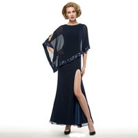 mütterlicherseits großhandel-Marineblau Mantel Scoop Chiffon Side Split Mutter der Braut Kleider mit einem Pailletten Wrap Knöchel Länge Mutter Kleider