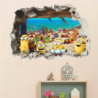 Wholesale 3d window art for wall for sale - Despicable Me D Wall Sticker Minions On Holiday Smashed Window Baby Kids Room Bedroom Decoraton Vinyl Decals Art Mural Poster