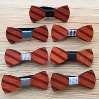 Wholesale wholesale women bowties - 2018 New Fashion Vintage Wooden Bowties Unique Handcrafted Wood Wedding Bowknot Stripes Classic Party Ties For Men