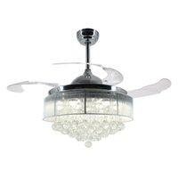 moderne versenkbare beleuchtung großhandel-36-Zoll-42-Zoll-moderne LED-Deckenventilator einziehbare Flügel Crystal Chandelier Fan mit Fernbedienung Kronleuchter Deckenleuchte Lampe